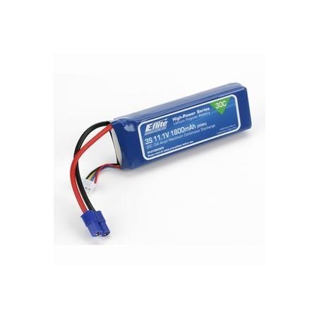 1800mAh 3S 11.1V 30C LiPo -13AWG EC3