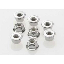 Nuts, 4mm flanged nylon...